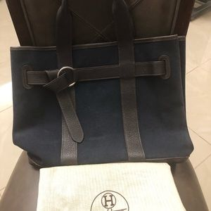 Auth Hermès Navy w/Dark Brown Leather Tote
